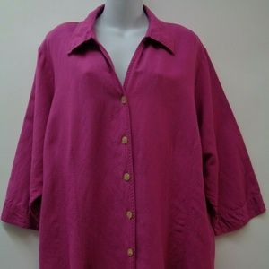 Avenue 26 28 Pink Womens Top Shirt 3/4 Sleeve